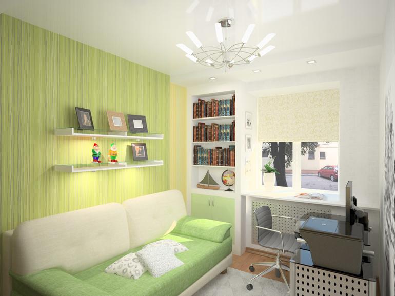 Mažo kambario interjeras