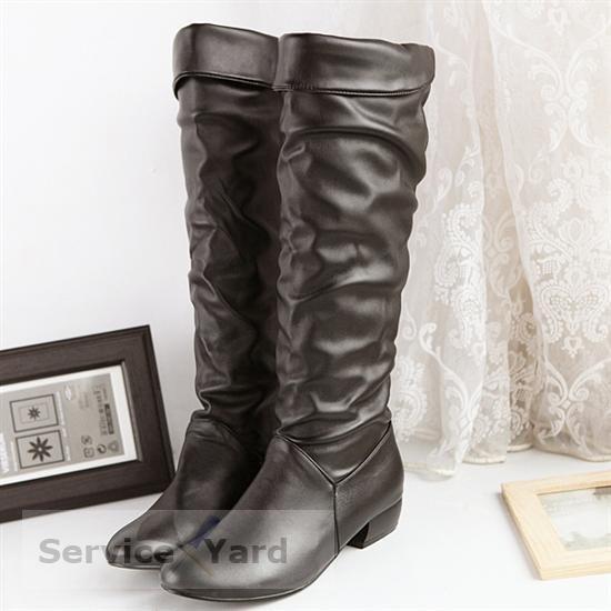 en filigrane - Femmes-Bottes-Haute-Jambe-Talon Plat-Bottes-Hot-Selling-Mode-Femmes-Neige-Chaussures-Femmes-Moto-Bottes